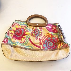 Fossil Wooden Handle Floral Canvas Purse